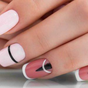 crni i beli lak na noktima
